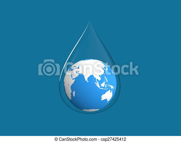 3d render of earth in water drop - csp27425412