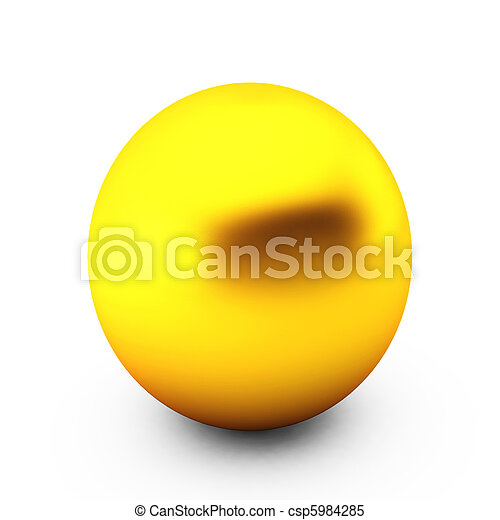 3d render of gold ball on white - csp5984285