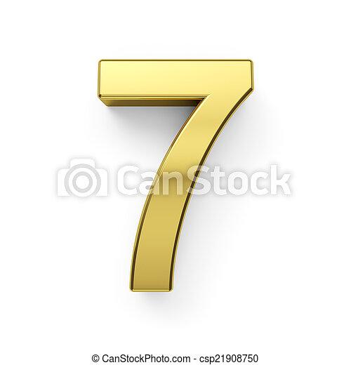3d render of golden digit simbol - 7 - csp21908750