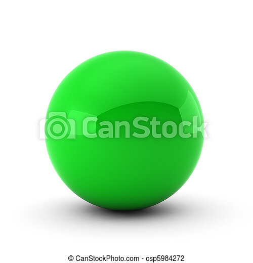 3d render of green ball on white - csp5984272