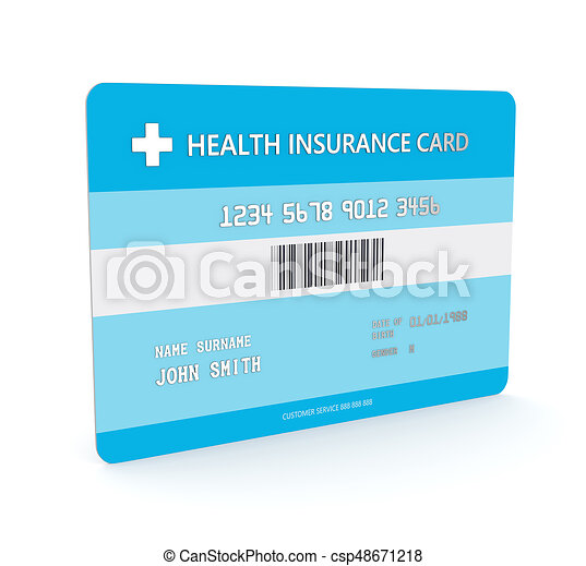 3d render of health insurance card over white all personal data is fictitious