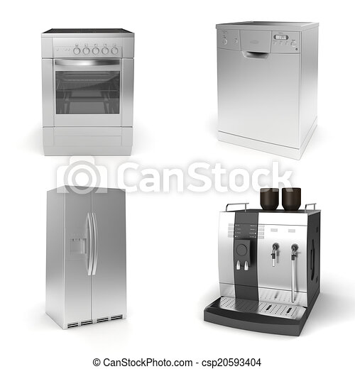 3d render of household appliances on white background - csp20593404
