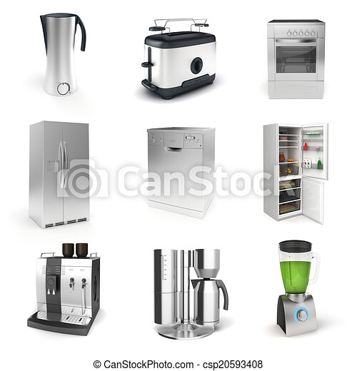 3d render of household appliances on white background - csp20593408