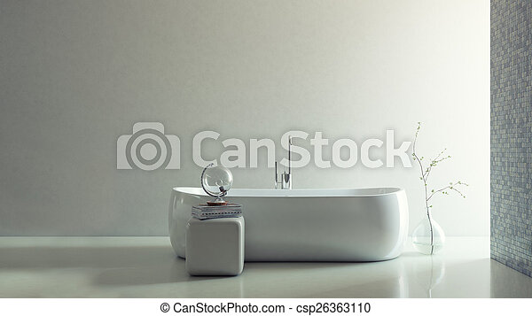 3D Render of Minimalistic Bathroom - csp26363110