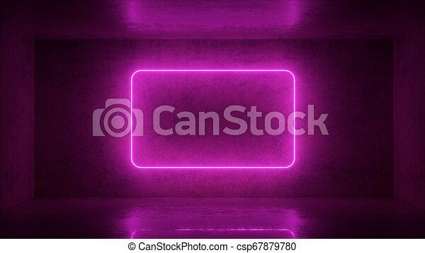 3d render of neon frame on background in the room  Banner design   Retrowave, synthwave, vaporwave illustration