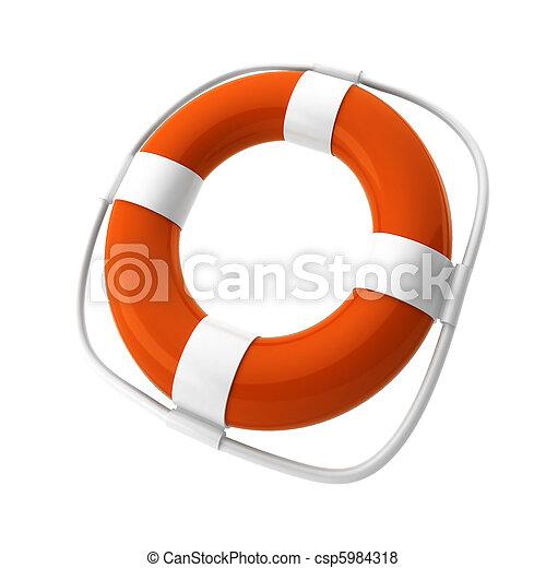 3d render of orange lifebuoy on white - csp5984318