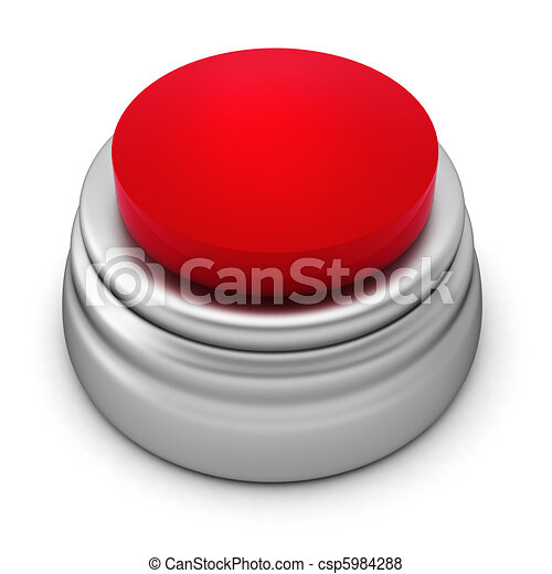 3d render of red button on white - csp5984288