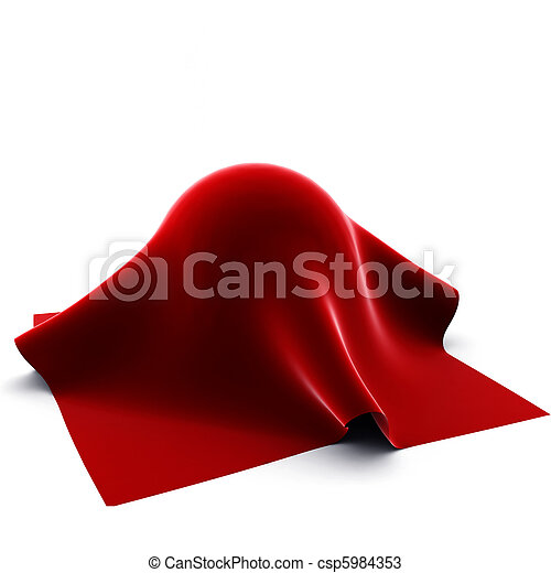 3d render of  red cloth on ball on white - csp5984353