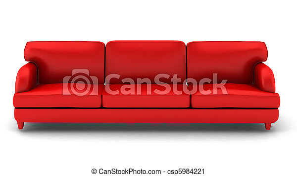 3d render of red leather sofa on white - csp5984221