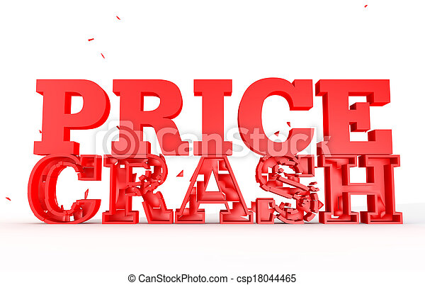 3d render of the word price crash for sales - csp18044465
