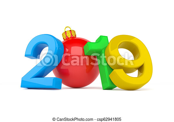 3d render of the year 2019 over white background - zero is a Christmas ball - csp62941805