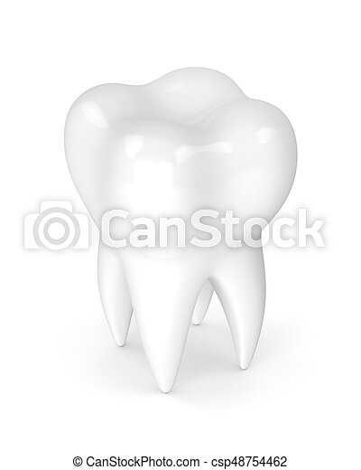 3d render of tooth isolated on white - csp48754462