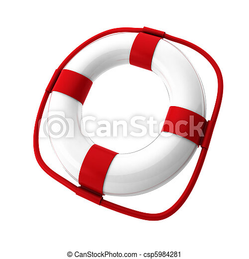 3d render of white lifebuoy on white - csp5984281