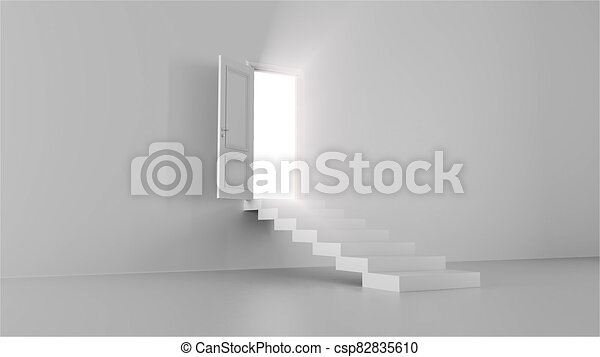 3d render shine of an open door with steps in a bright room - csp82835610