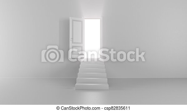 3d render shine of an open door with steps in a bright room - csp82835611