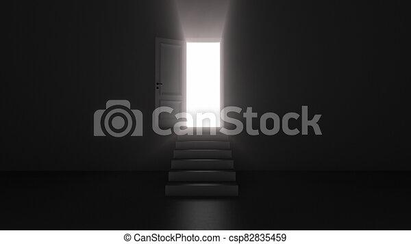 3d render shine of an open door with steps in a dark room - csp82835459