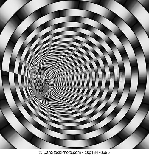 3d render tiled tunnel in gradient black and white csp13478696