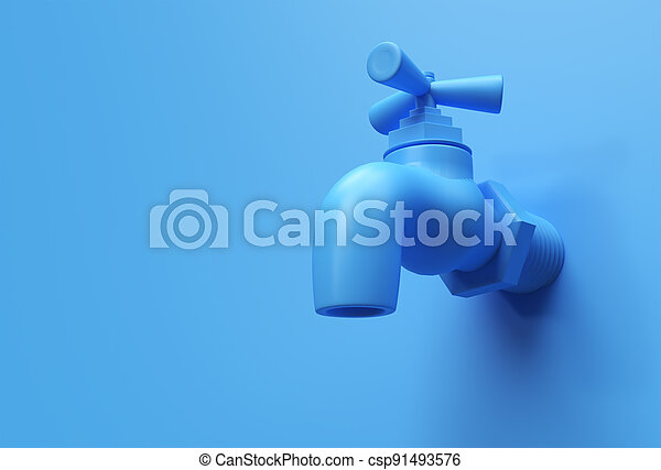 3D Render Water Tap with a water stream isolated on Blue Background 3d illustration. - csp91493576