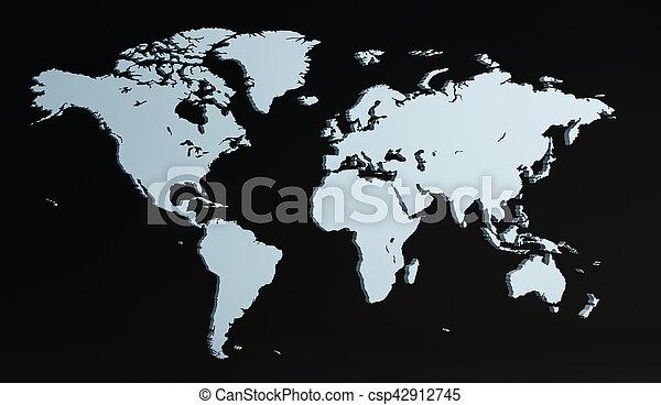 3D render world map - csp42912745