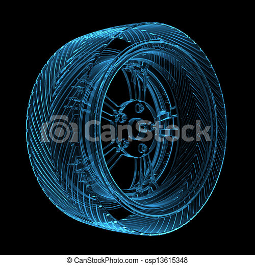 3D rendered blue transparent glowing car tire - csp13615348