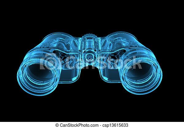 3D rendered blue xray transparent binoculars - csp13615633