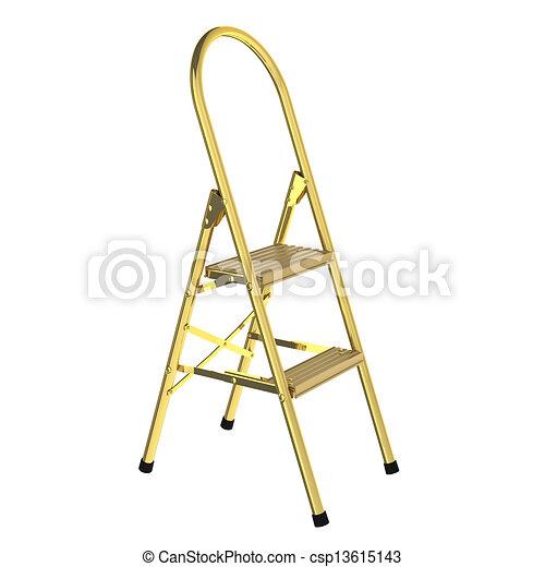 3D rendered golden ladder - csp13615143