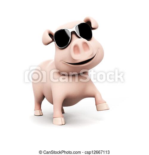 3d rendered illustration of a funny pig - csp12667113