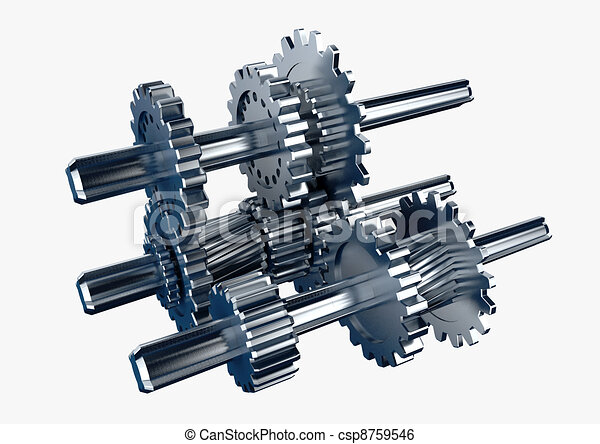 3d rendered illustration of a piece of mechanical rotary metal engine isolated in white  - csp8759546