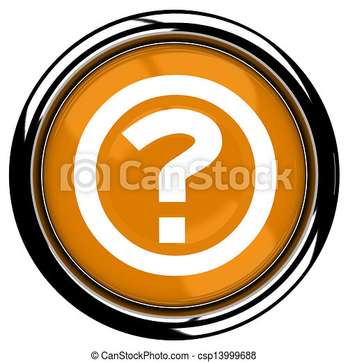 3D rendered illustration of button icon with Question mark - csp13999688
