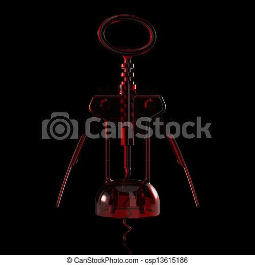3D rendered Red transparent Corkscrew - csp13615186