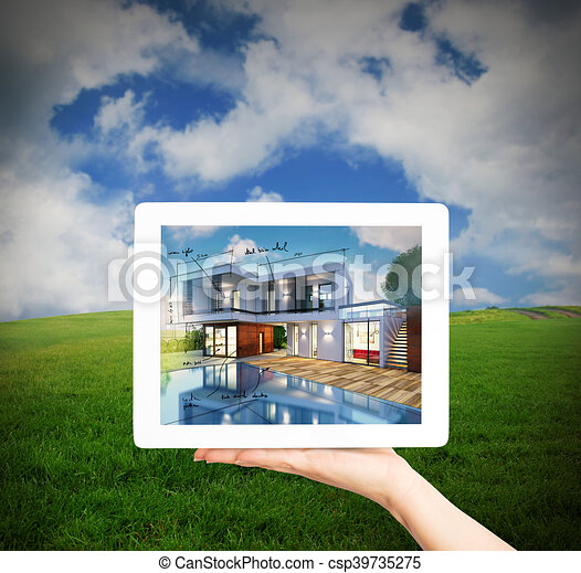 3D Rendering Architect showing new house project with tablet - csp39735275