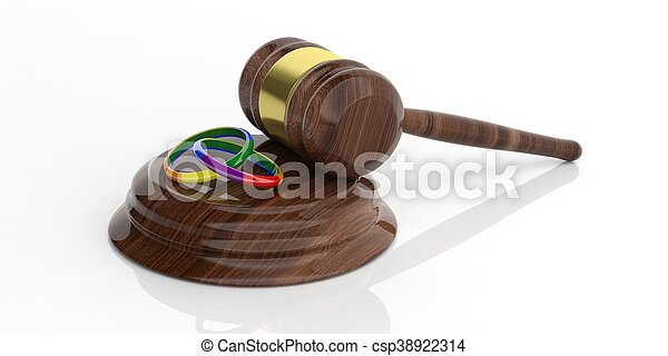 3d rendering auction gavel on white background - csp38922314