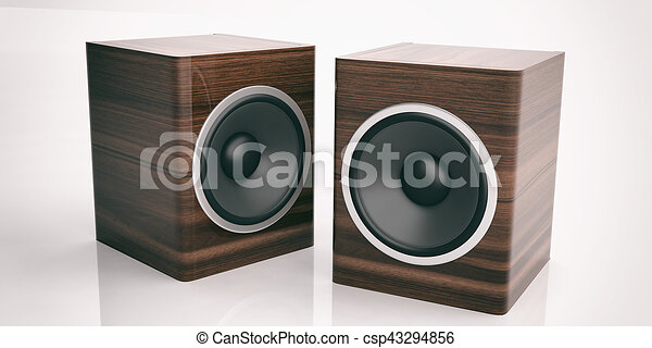 3d Rendering Audio Speaker Boxes On White Background