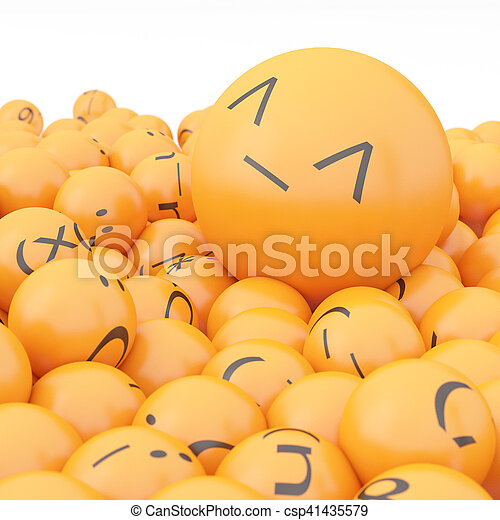 3d rendering background of emoticons - csp41435579