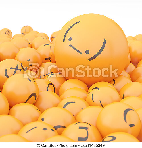 3d rendering background of emoticons - csp41435349