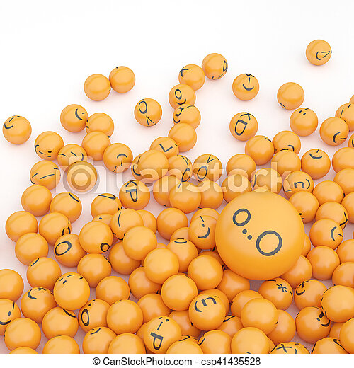 3d rendering background of emoticons - csp41435528