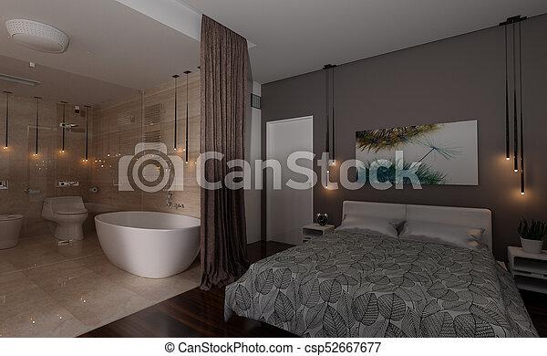 3D Rendering Bedroom Interior - csp52667677