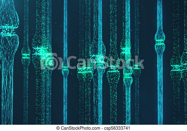 3D rendering blue glowing synapse. Artificial neuron in concept of artificial intelligence. Synaptic transmission lines of pulses. Abstract polygonal space low poly with connecting dots and lines - csp56333741