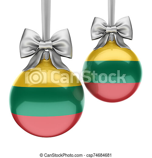 3D rendering Christmas ball with the flag of Lithuania - csp74684681