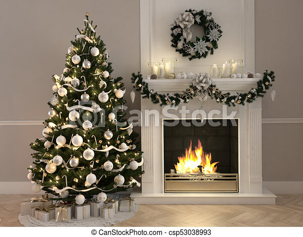 Christmas Fireplace Scene Clipart.3d Rendering Christmas Scene With Decorated Tree And Fireplace