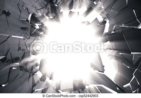 3d rendering cracked earth abstract background with volume light rays. Cracked concrete earth abstract background. - csp52442903