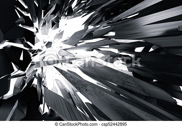 3d rendering cracked earth abstract background with volume light rays. Cracked concrete earth abstract background. - csp52442895