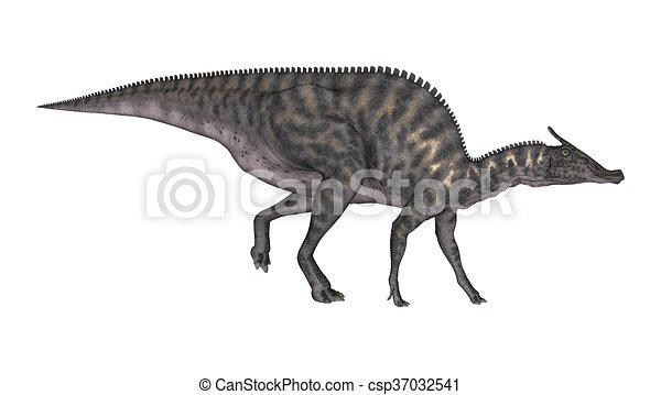 3D Rendering Dinosaur Saurolophus on White - csp37032541