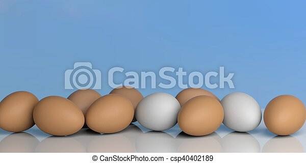 3d rendering eggs on a blue sky background - csp40402189