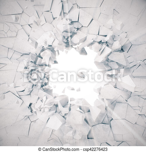 3d rendering, explosion, broken concrete wall, cracked earth, bullet hole, destruction, abstract background with volume light rays. - csp42276423