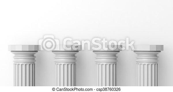 3d rendering four white marble pillars - csp38760326