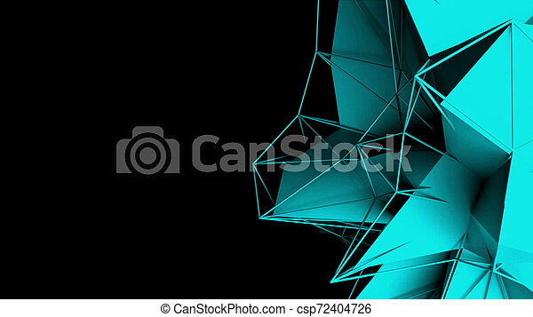 3d rendering fractal object with mesh grid, abstract modern background, computer generated - csp72404726