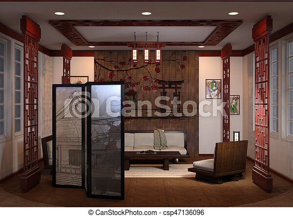 3D Rendering Home Interior Japanese Style - csp47136096
