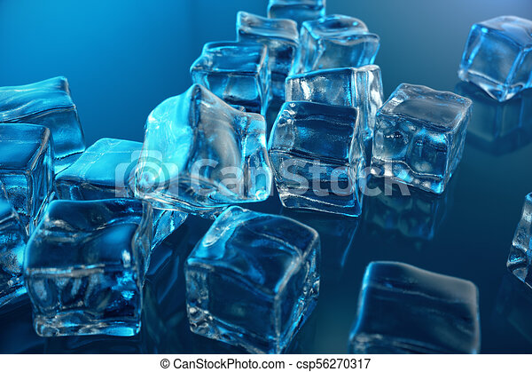 3D Rendering Ice Cube On Blue Tint Background Frozen Water