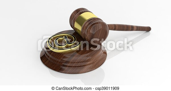 3d rendering mail symbol and an auction gavel - csp39011909